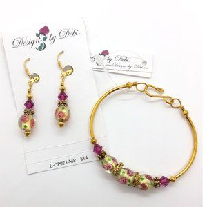 Glass & Crystal Roses Fitted Bangle & Earrings